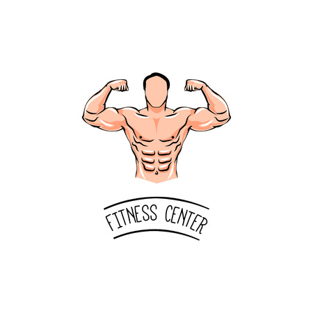 Bodybuilder with a mustache. Man with muscles. Fitness center. Vector Illustration isolated on white background. Foto de archivo - 97312018