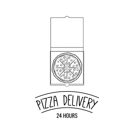 Pizza in cardboard box with text Pizza delivery template Banque d'images - 97613362