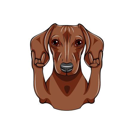 Hond met rotsgebaar Stock Illustratie