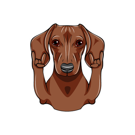 Dog with rock gesture