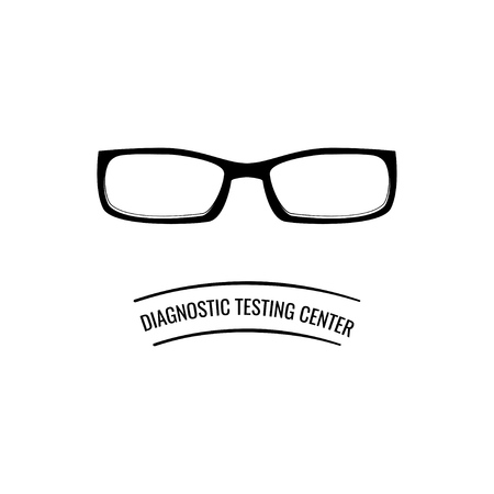 Glasses icon. Optic eyeglasses. Diagnostic testing center text. Vector illustration isolated on white background.