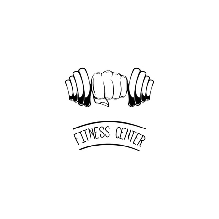 Fitness center label symbol design Illustration