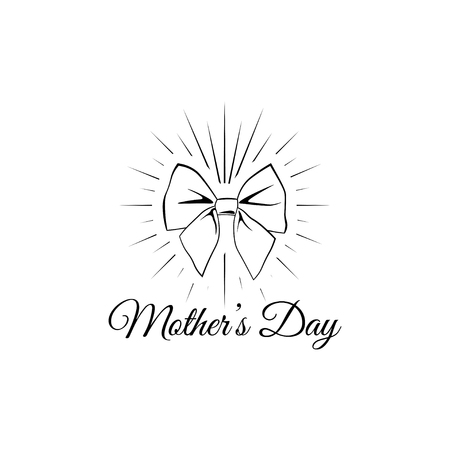 Mother s day card with bow in beams. Vector illustration. Greeting card design element. Decoration.