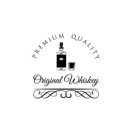 Whiskey bottle and glass. Swirls, filigree ornate frame. Original Whiskey text. Standard-Bild - 97607820