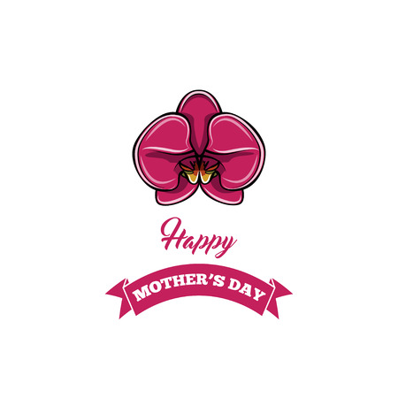 Blossom flower. Mother s day greeting card with orchid and ribbon. Vector illustration isolated on white background.