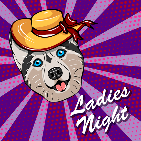 Husky dog with Ladies night text template