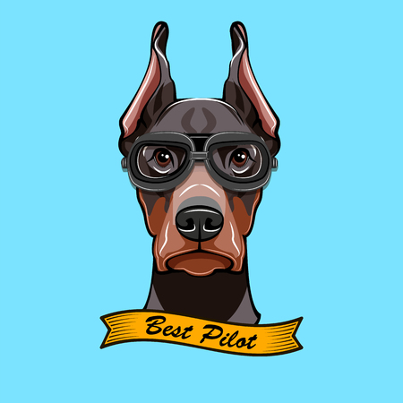 Dog in Pilot's glasses with text best pilot Vettoriali