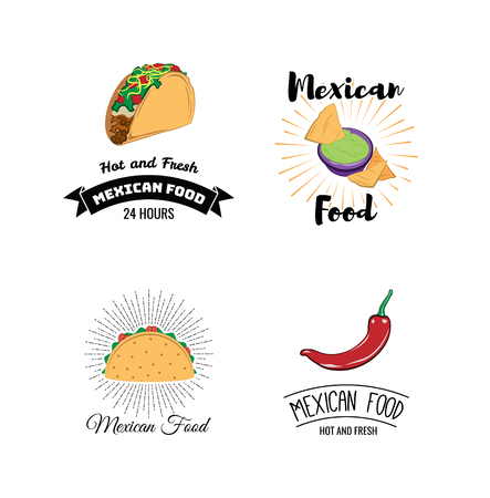 Mexican Food Menu Posters Set with Traditional Spicy Meal Illustration