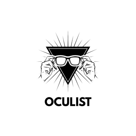 Hands holding glasses. Triangle. Oculist badge label logo. Vector illustration. Oculist text  イラスト・ベクター素材