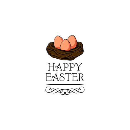 Nest with easter eggs. Happy Easter text. Vector illustration with swirls and flourish elements. Ilustração