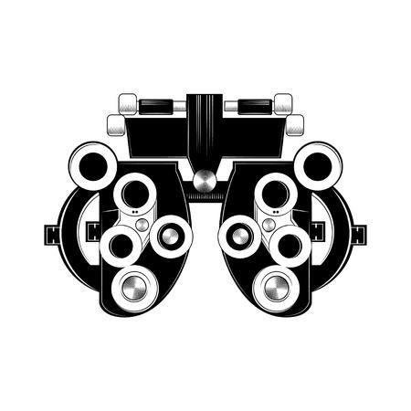 フォロプターグリフアイコン。屈折。眼科用試験装置。光学医療機器。ベクター分離イラストレーション。
