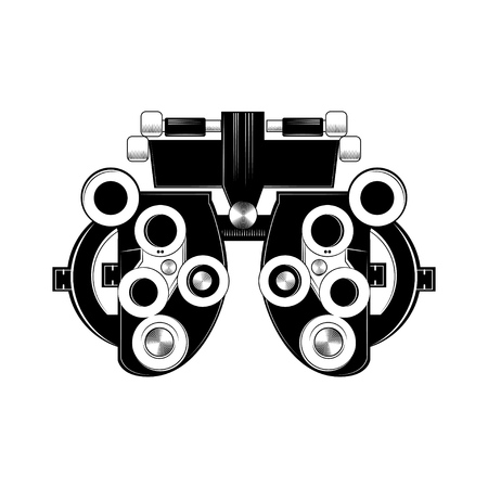 Phoropter glyph icon. Refractor. Ophthalmic testing device. Optical medical device. Vector isolated illustration.