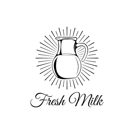 Retro milk jug with Fresh milk text