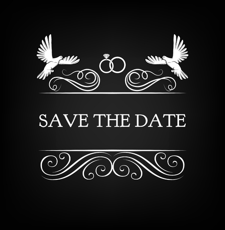 Wedding Invitation. Save the date with pigeon, dove, ring and Filigree flourish divider ornate frame Vector illustration on black background. Illustration