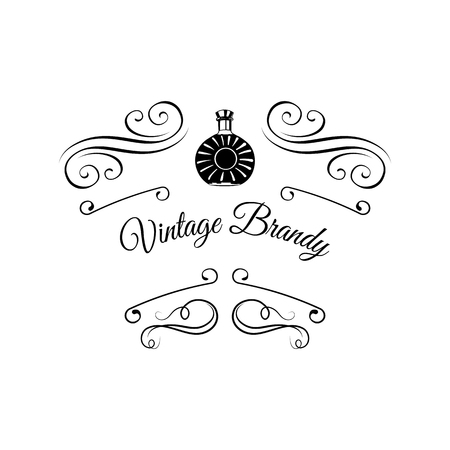 Brandy bottle with filigree elements. Vector illustration with text Vintage Brandy.