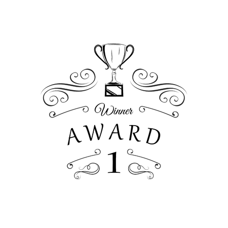 Trophy Winner cup with Swirls, filigree frame. First place Prize flat vector icon. 일러스트