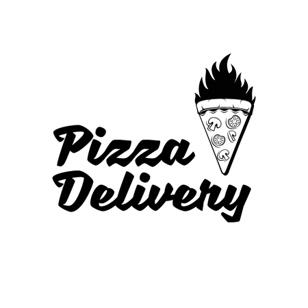 Pizza Delivery. Pizza logo design template: Pizza piece in fire Vector illustration. Banque d'images - 97400969