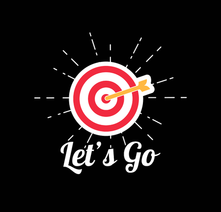 Target Concept Icon. A goal with an arrow in beams and Let's go text Vector illustration. Banque d'images - 97400970