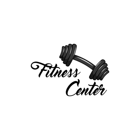 Dumbbell vector illustration. Fitness center text logo label. Isolated on white background. Foto de archivo - 97412944