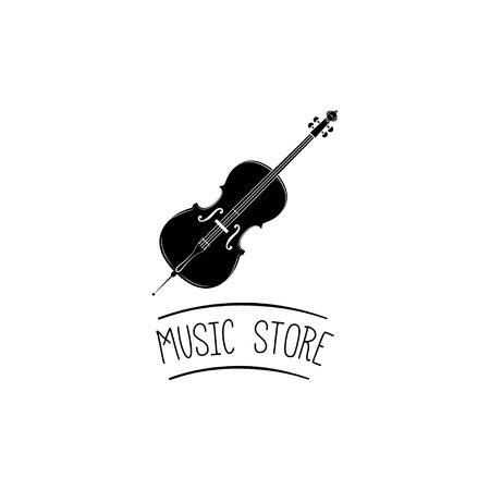 Violin. Modern Music Logo. Classical Violin Symbol. Music store text. Vector illustration isolated on white background.
