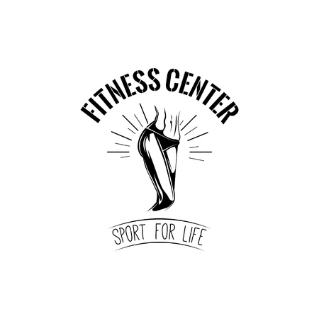 Female Feet, Legs Line. Women s body. Fitness center  label emblem. Sport for life text. Vector illustration.