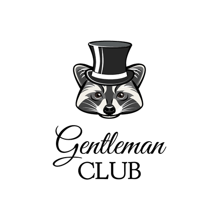 Gentleman club text with raccoon wearing a hat icon.