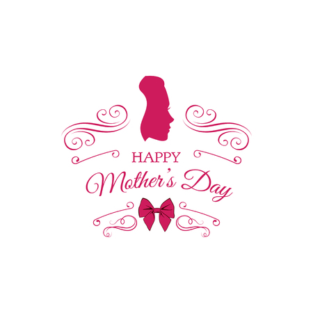 Mother s day card. Cute vintage frames with ladies silhouette. Swirls, ornate frames and bow. Vector illustration. Pink color. Mom s gift.