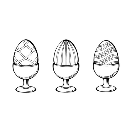 Eggs in egg-cup, egg holder. Three Easter eggs. Design elements. Vector illustration isolated on white background. Imagens - 97426664