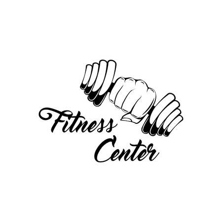 Dumbbell weight. Hand lifted dumbbell. Fitness center logo label. Vector illustration isolated on white background.