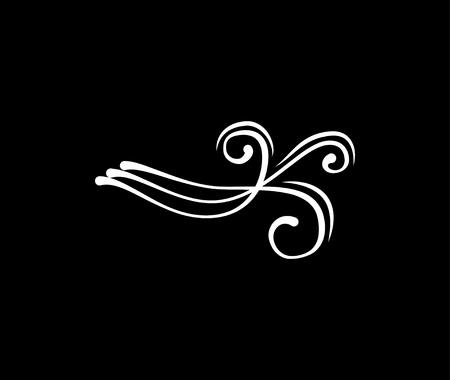 華やか旋回スクロール。書道およびページ装飾のデザイン要素。華やかな仕切り。黒い背景に分離されたベクトル図。
