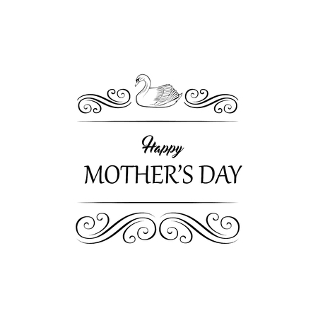Vector swan - mother s day greeting card. Swirls, filigree flourish elements. Ornate frames. Isolated on white background.