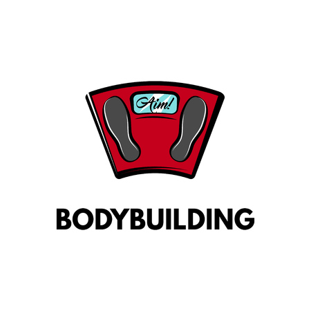 Weighting scale in red color icon with bodybuilding text.
