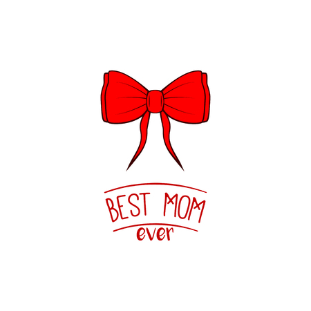 Happy Mother's Day card with red bow design. Illusztráció