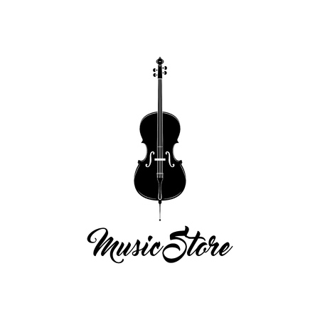 Violin icon. Classic String Instrument. Music store shop label emblem logo. Vector Illustration.