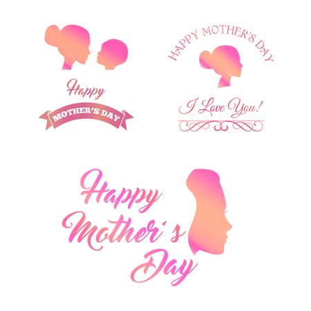 Set of mother and baby silhouette symbols. Happy Mother s Day icons. Vector illustration with ribbons ans swirls. I love you text. Pink color.