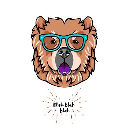 Chow chow dog wearing eyeglasses.