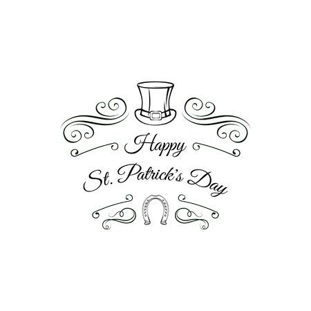 Saint Patrick s hat, horseshoe, filigree flourish ornate frame and swirls. Vector Illustration. Greeting card. Banque d'images - 97412953