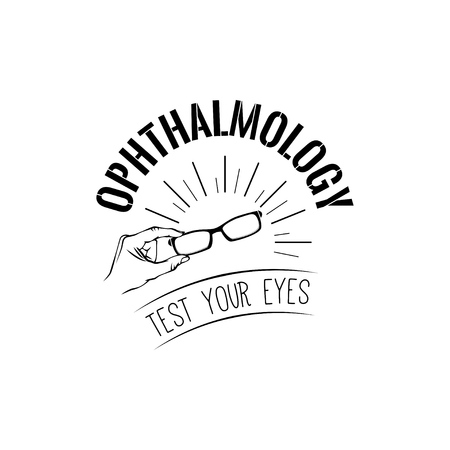 Eyeglasses in hands ophthalmology logo label emblem check your eyes text vector illustration. Archivio Fotografico - 97612272