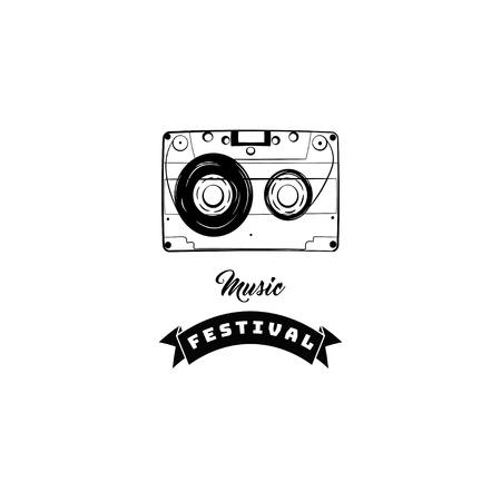 Audio tape cassette icon music store festival logo and symbol vector illustration Ilustração