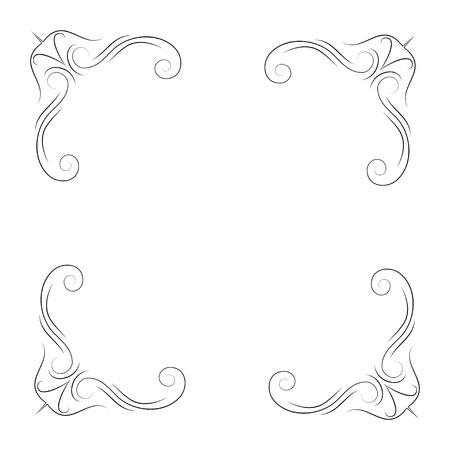 Calligraphic corners and decorative elements. Filigree flourish corners and swirls. Vector illustration.