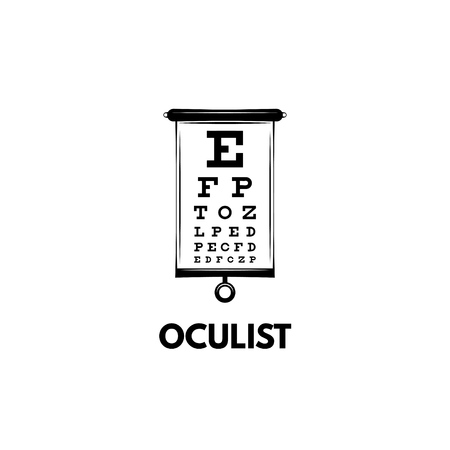 Chart Test table with letters for eye examination. Eye chart test for ophthalmologist doctor. Oculist lettering. Vector illustration.