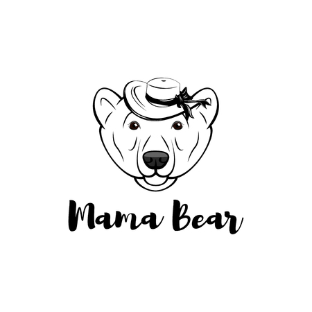 Mama bear. Mothers day greeting card in cartoon style with bear in Wide-brimmed hat. Vector illustration.