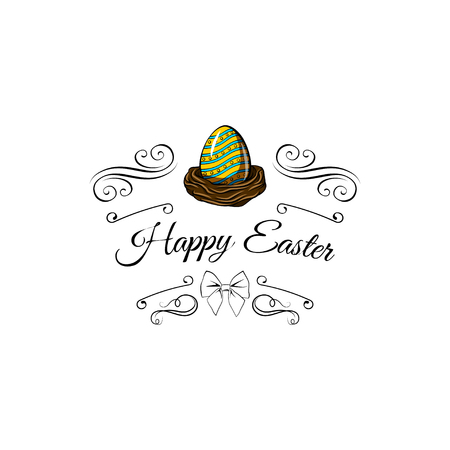 Color Easter eggs for Easter design. Greeting card. Happy Easter. Vector illustration with swirly lines.