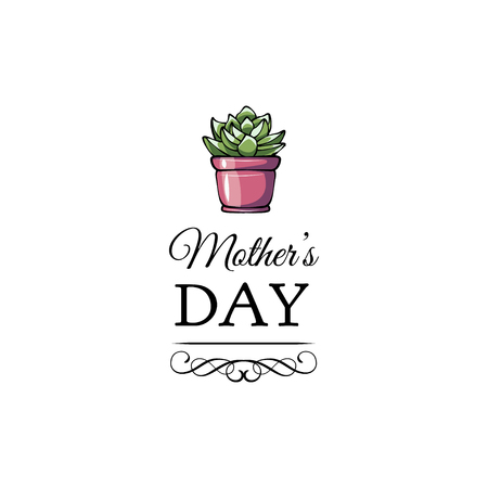 Succulent flower for mother s day card. Vector illustration. Swirls and filigree flourish elements.