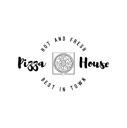 Pizza Box badge. Pizza House logo. Italian food, Pizzeria label, Pizza delivery. Best in town text. Vector illustration. Illustration