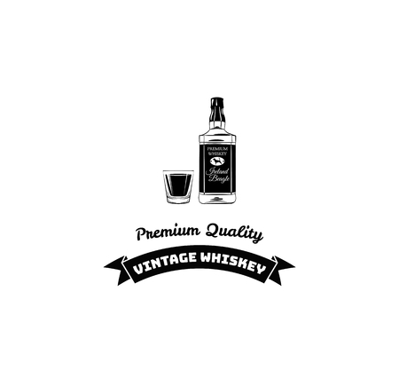 Whiskey bottle, shot. Alcohol drink, Bar, Pub, Restaurant menu design. Vector illustration with ribbon and premium quality text. Иллюстрация