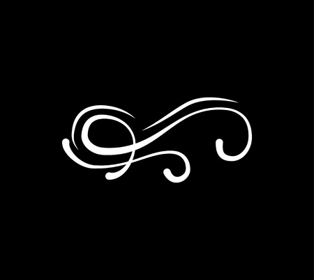 Calligraphy swirl element, swashe, ornate motif and scroll. Vector illustration isolated on black background.