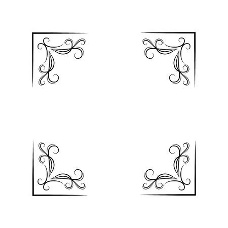 フローラルコーナーセット。渦巻き、フィリグリー要素。装飾。白に黒。ベクトル図 デザイン要素  イラスト・ベクター素材