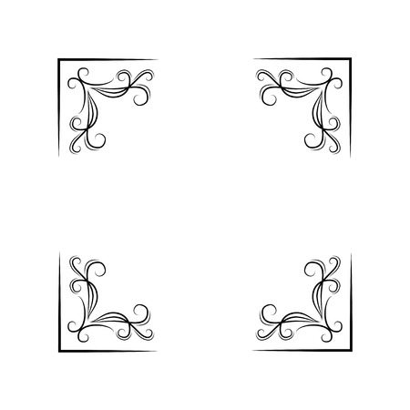 Floral corners set. Swirls, filigree elements. Decoration. Black on white. Vector illustration Design elements  イラスト・ベクター素材
