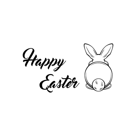 Easter bunny. Backside of a rabbit. Greeting card. Happy Easter lettering. Vector illustration.